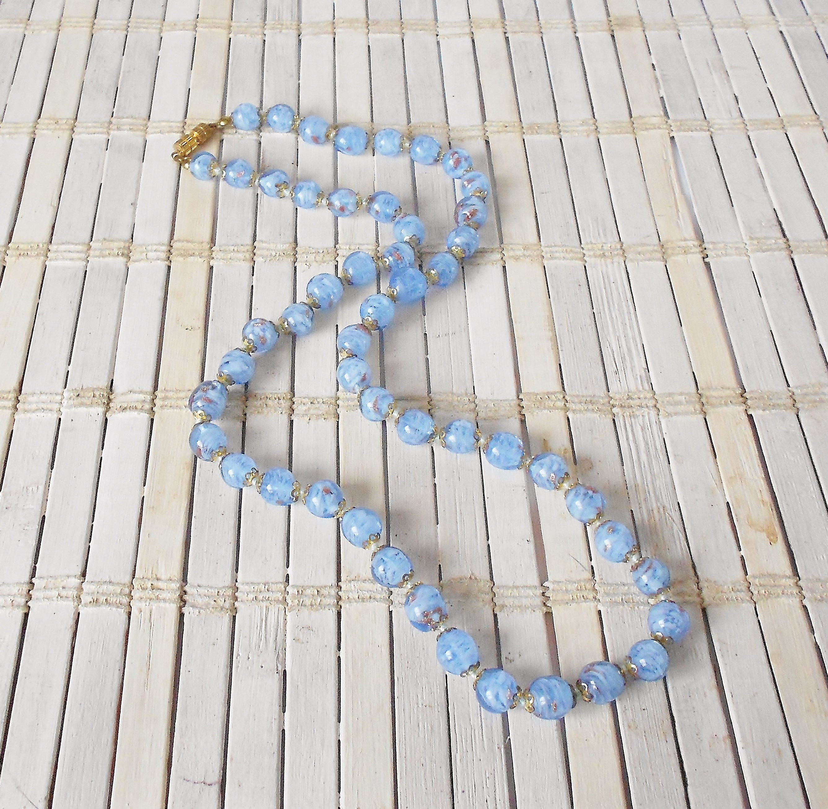 "Murano Blue Glass Vase Of Vintage Murano Glass Beaded Necklace Pale Blue Gold Regarding DŸ""Žzoom"