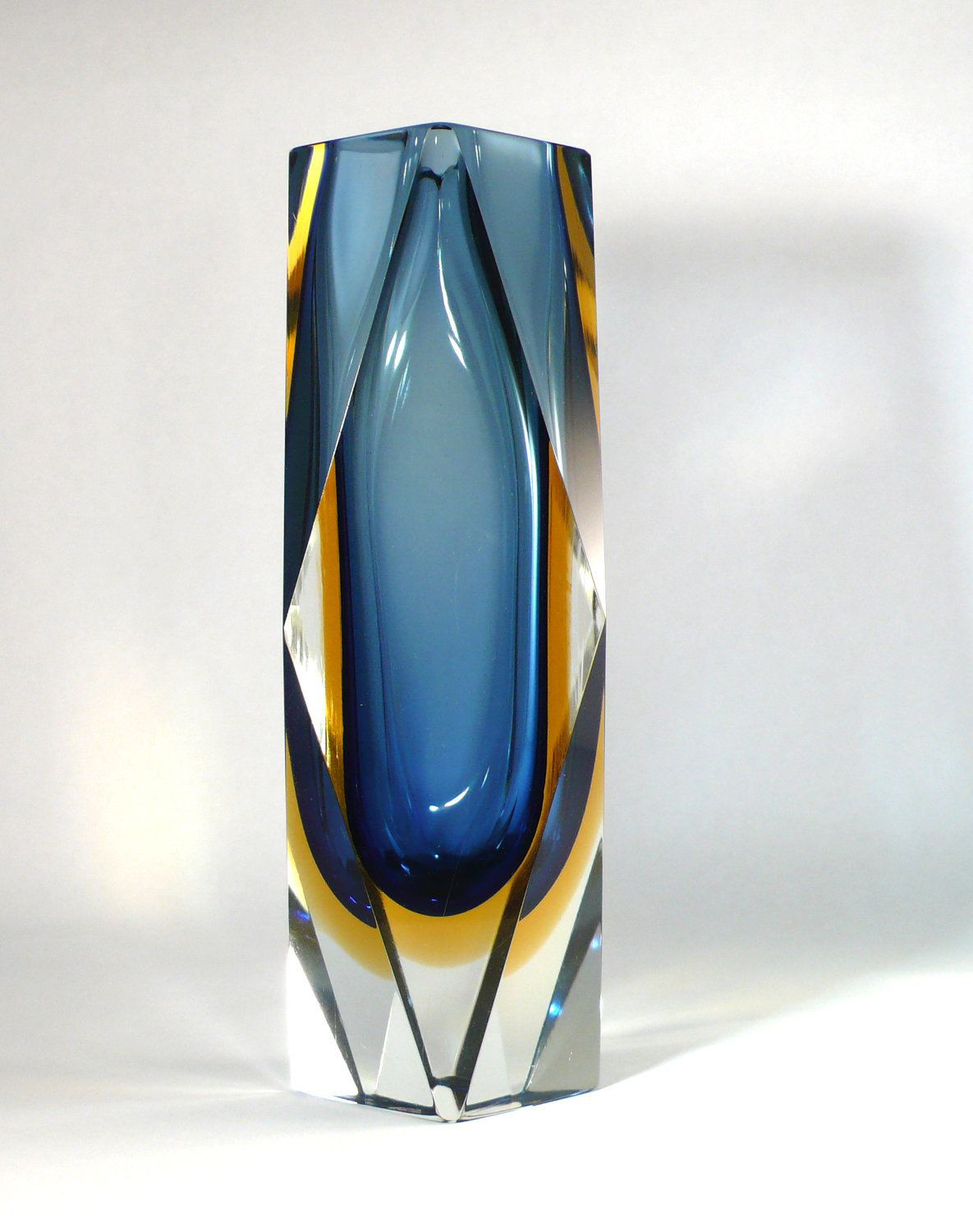 murano blue glass vase of vintage murano sommerso triple faceted vase in blue places to throughout vintage murano sommerso triple faceted vase in blue