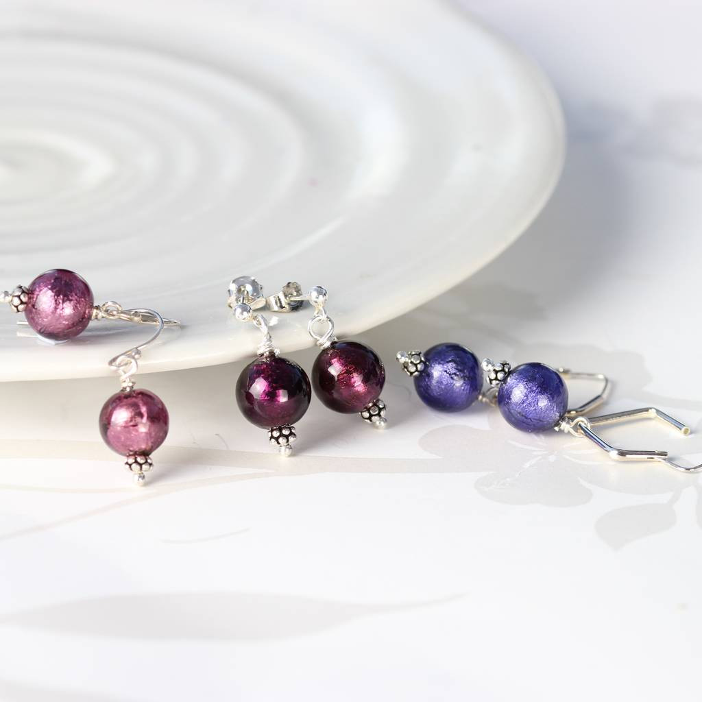 murano glass fish vase of round murano glass earrings by bish bosh becca notonthehighstreet com regarding amethyst dark amethyst and deep purple murano earrings on sterling silver fish hooks studs and clip