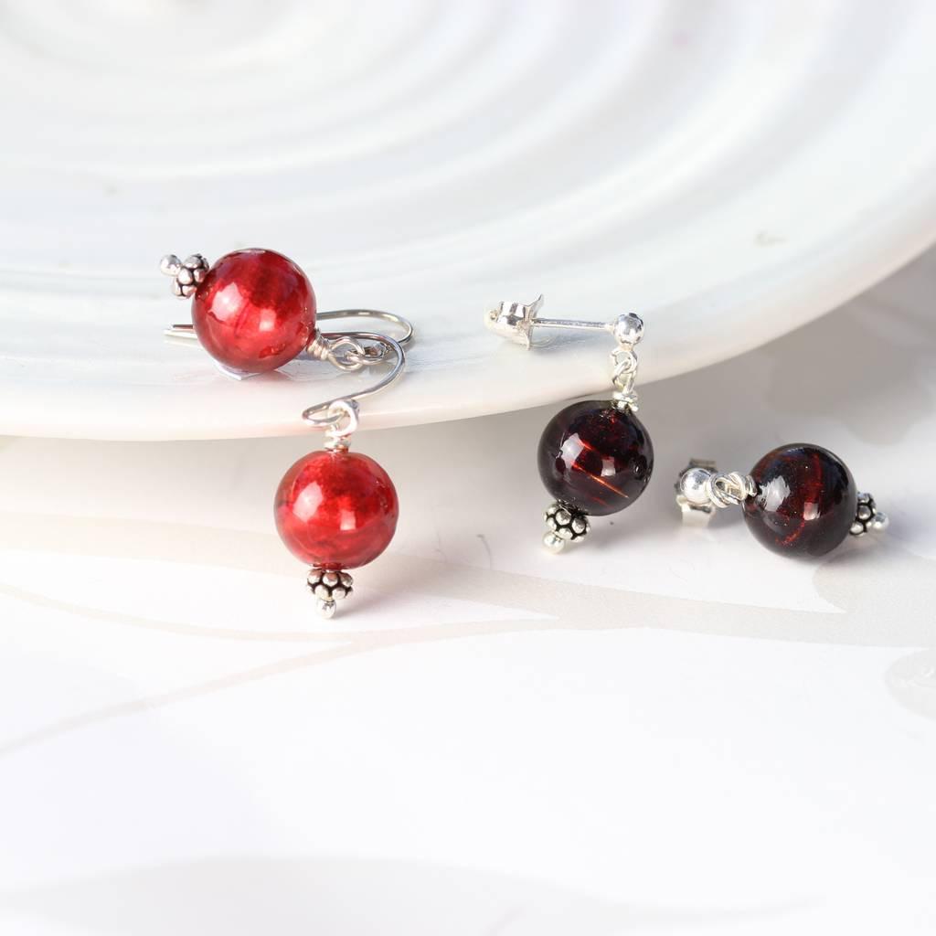 murano glass handbag vase of round murano glass earrings by bish bosh becca notonthehighstreet com intended for red and dark red