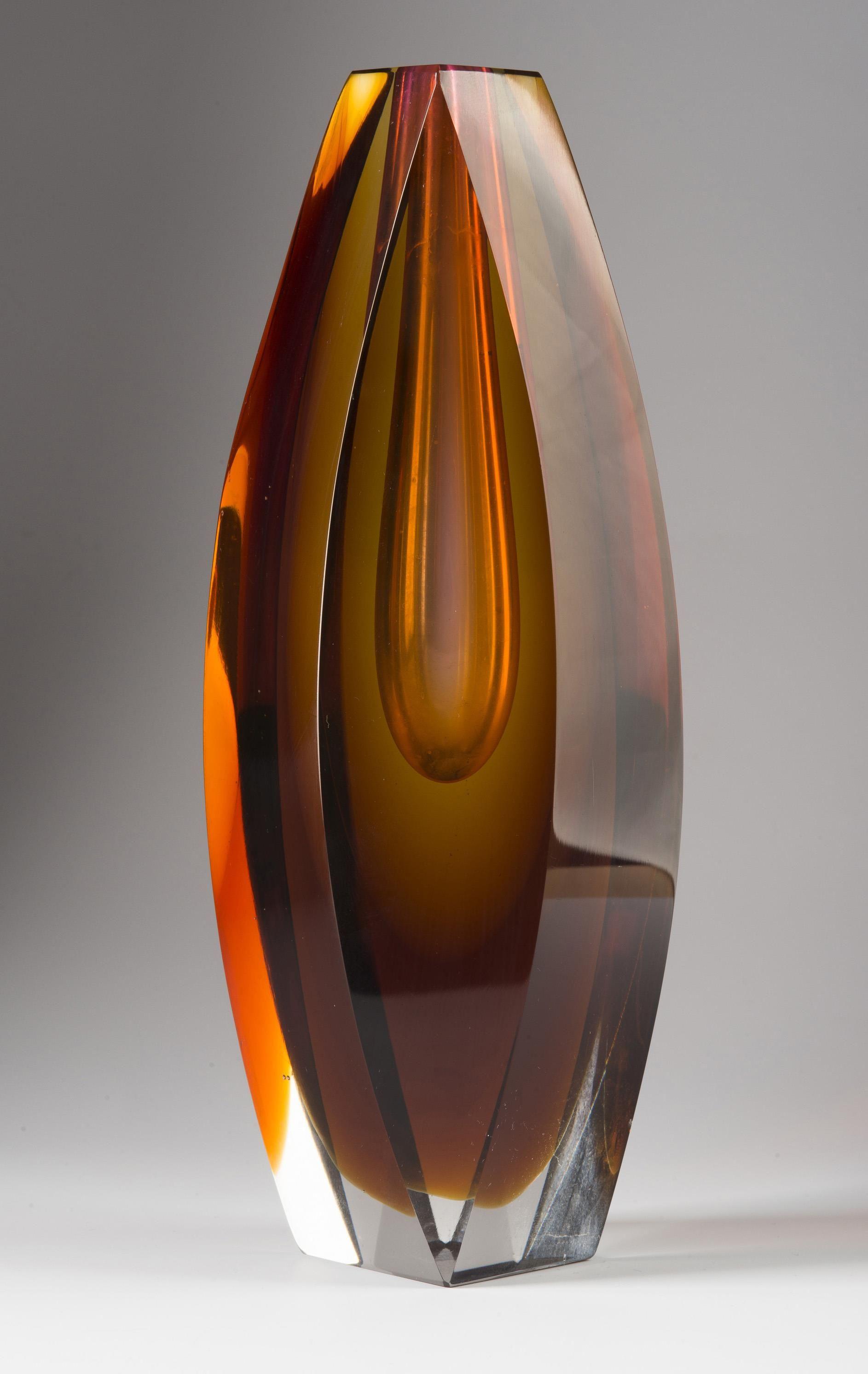 murano glass vase of jan kotik sommerso glass vase 60s h 225 cm glassworks zelezny intended for jan kotik sommerso glass vase 60s h 225 cm glassworks zelezny brod eisenbrod czechoslovakia