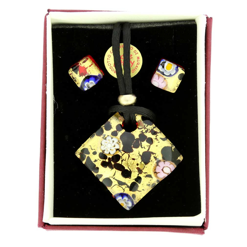 Murano Millefiori Glass Vase Of Murano Glass Necklace and Earrings Sets Venetian Reflections with Regard to Venetian Reflections Necklace and Earrings Set Gold Millefiori