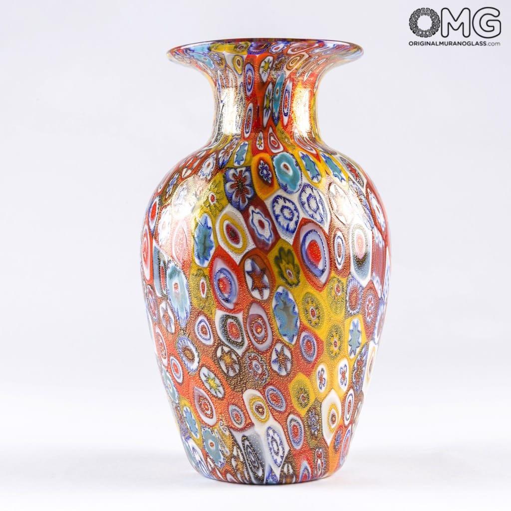 murano millefiori glass vase of vase millefiori colourful mix origianl murano glass regarding 1520342185257