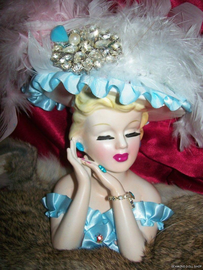 napco lady head vase of gorgeous lefton jeweled lady head vase blue lace doll headvase within gorgeous lefton jeweled lady head vase blue lace doll headvase a¤ a¤ a¤