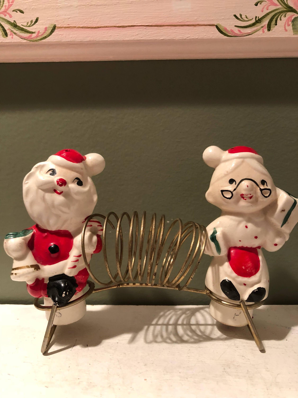 """napco lady head vase of vintage japan santa and mrs claus napkin holder salt pepper etsy in dŸ""""Žzoom"""