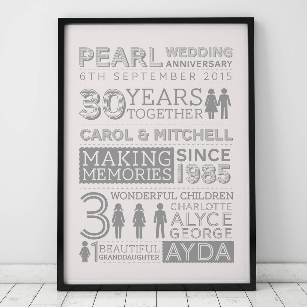 native american wedding vase story of 30th wedding pearl anniversary gifts notonthehighstreet com intended for wedding anniversary family art print
