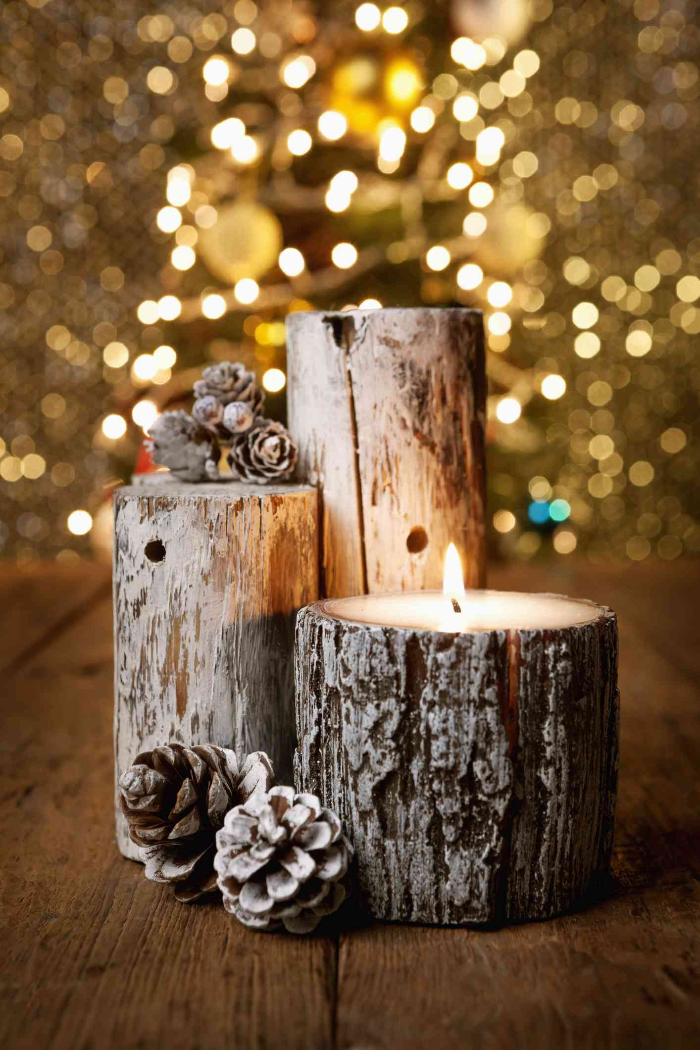 natural wood bark vases of natural christmas decorations intended for log candles and pinecones 5830f9da5f9b58d5b1a4c472