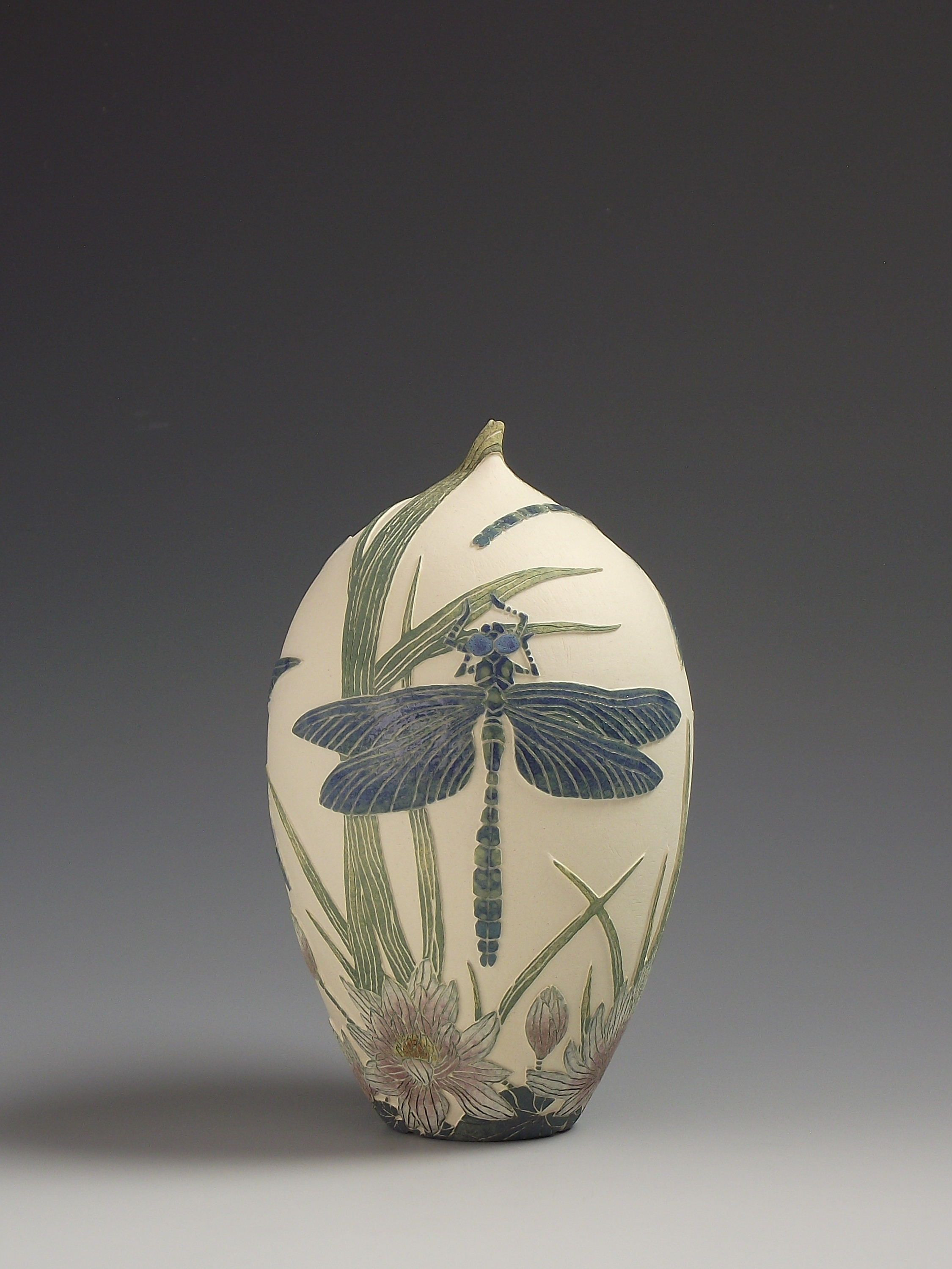 navajo pottery vases of southern hawker dragonfly water lily ceramic sgarffito vessel regarding southern hawker dragonfly water lily ceramic sgarffito vessel