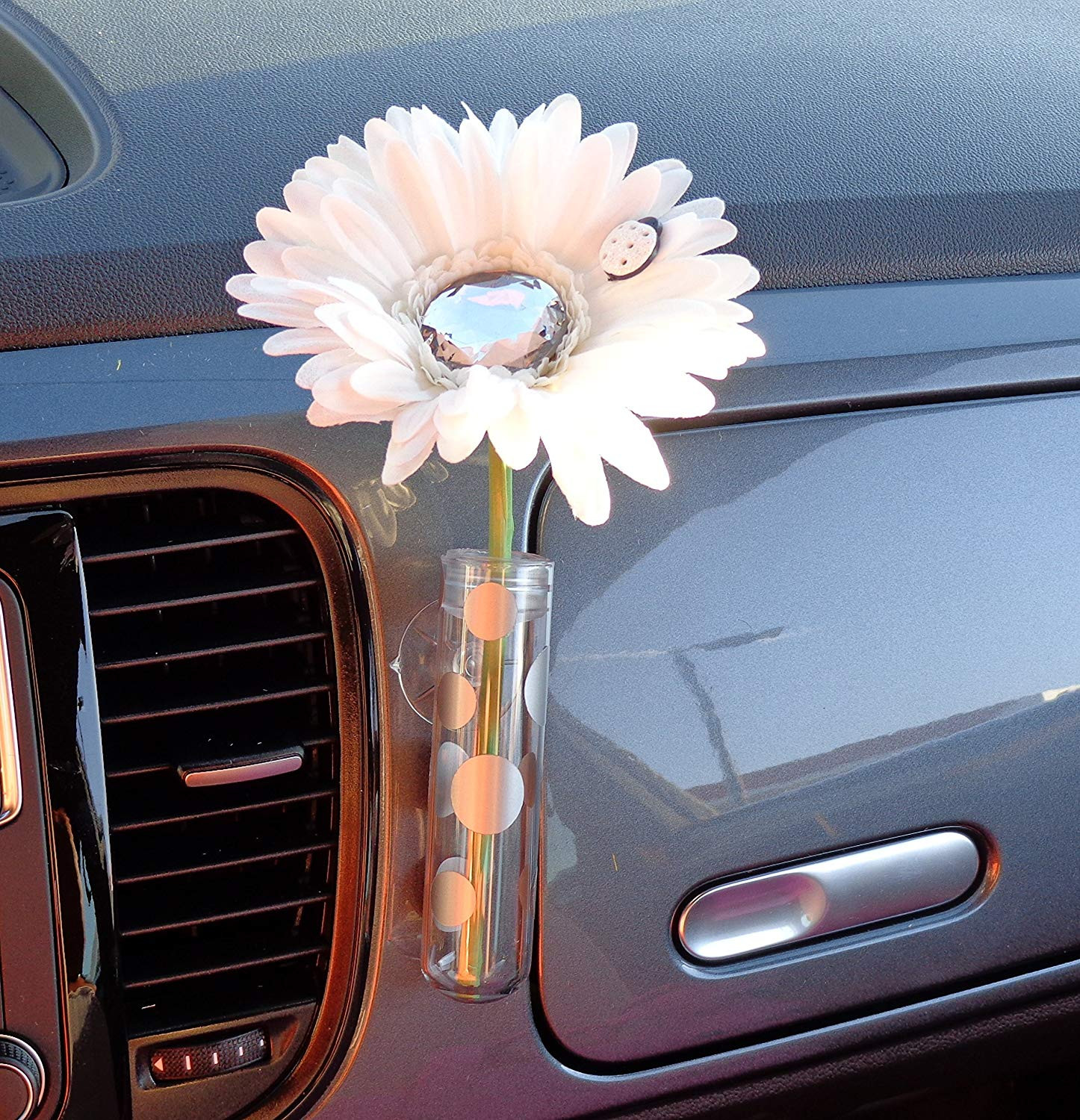 new beetle flower vase of amazon com vw beetle flower white and diamond bling daisy with throughout amazon com vw beetle flower white and diamond bling daisy with universal vase automotive