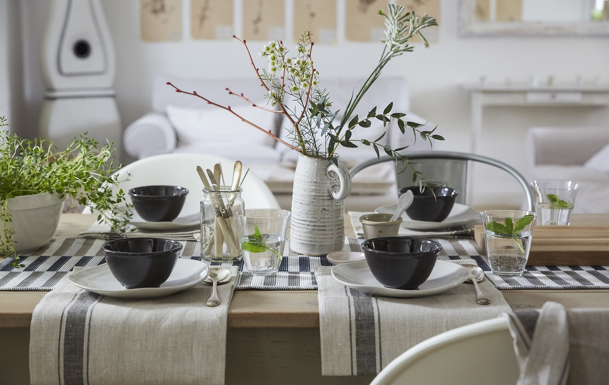 nicole miller home vase of ideas ikea for a neutral coloured table setting with cotton napkins simple place settings and a natural