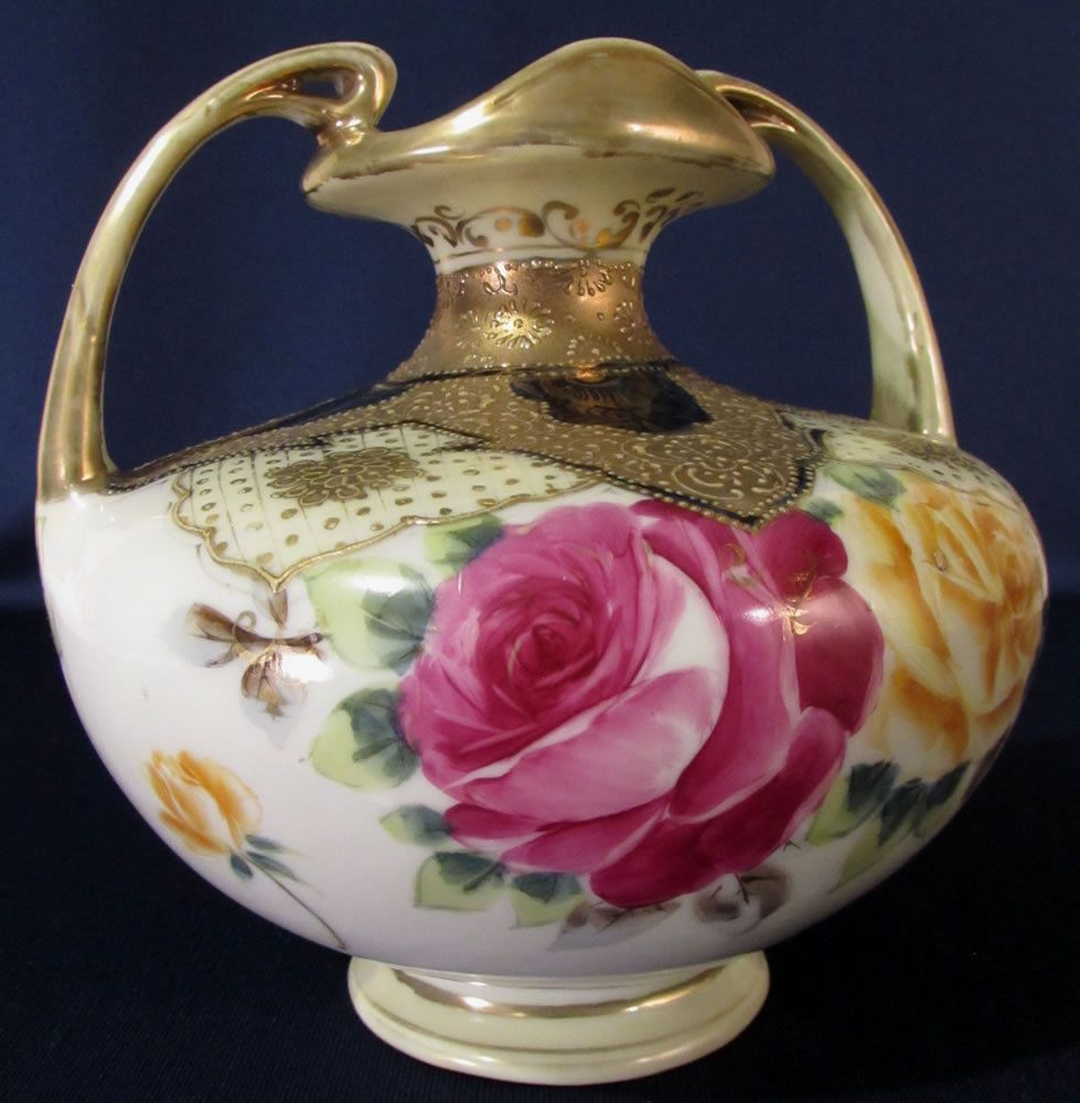 nippon moriage vase of vintage nippon hand painted serving plate and attached bowl with with nippon hand painted gold gilt porcelain vase rose floral design uk picclick com
