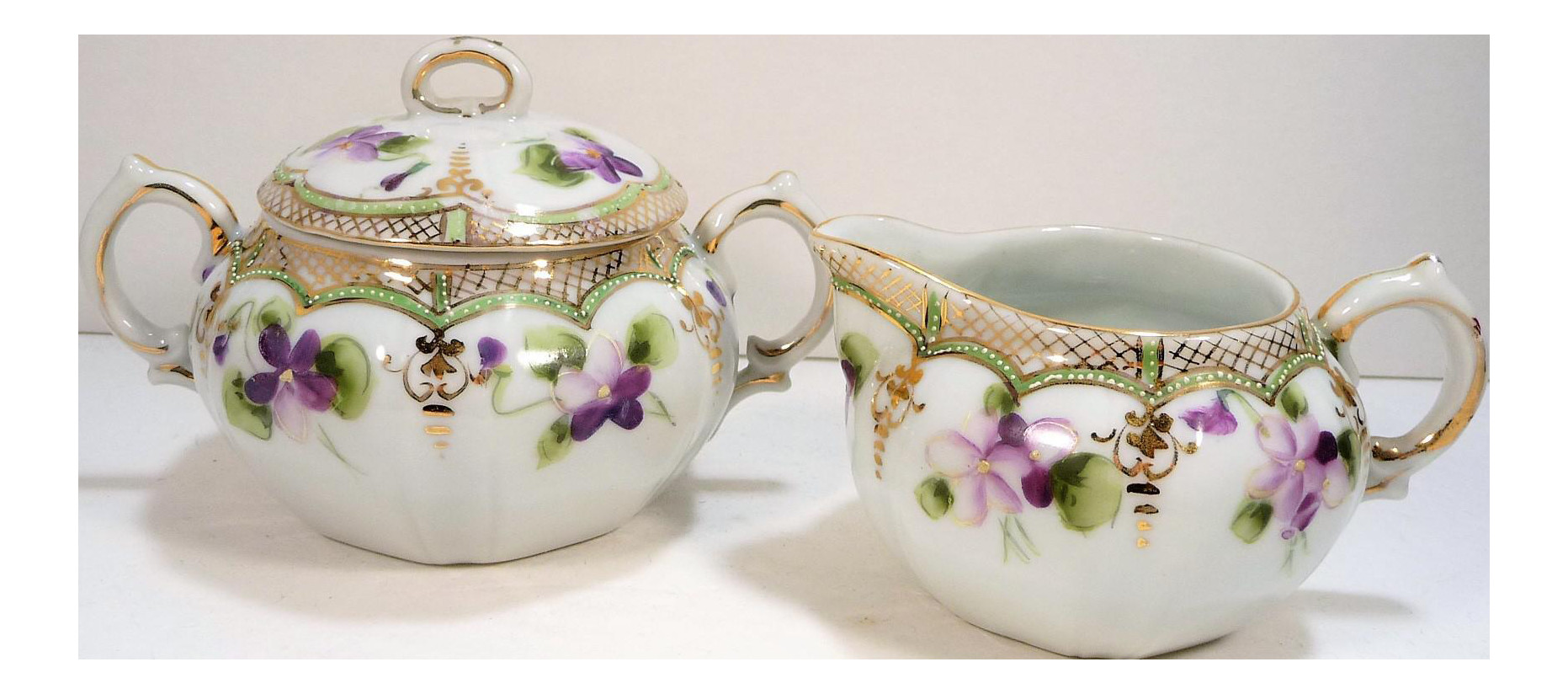nippon vase marks of antique nippon porcelain creamer sugar bowl set a pair chairish throughout antique nippon porcelain creamer and sugar bowl set a pair 3760