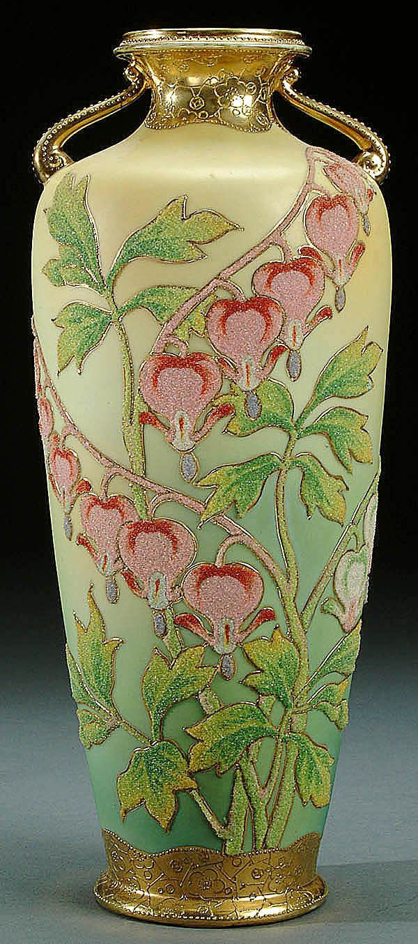 nippon vase marks of nippon coralene decorated porcelain handled vase circa 1909 with for nippon coralene decorated porcelain handled vase circa 1909 with beaded glass decoration of bleeding hearts