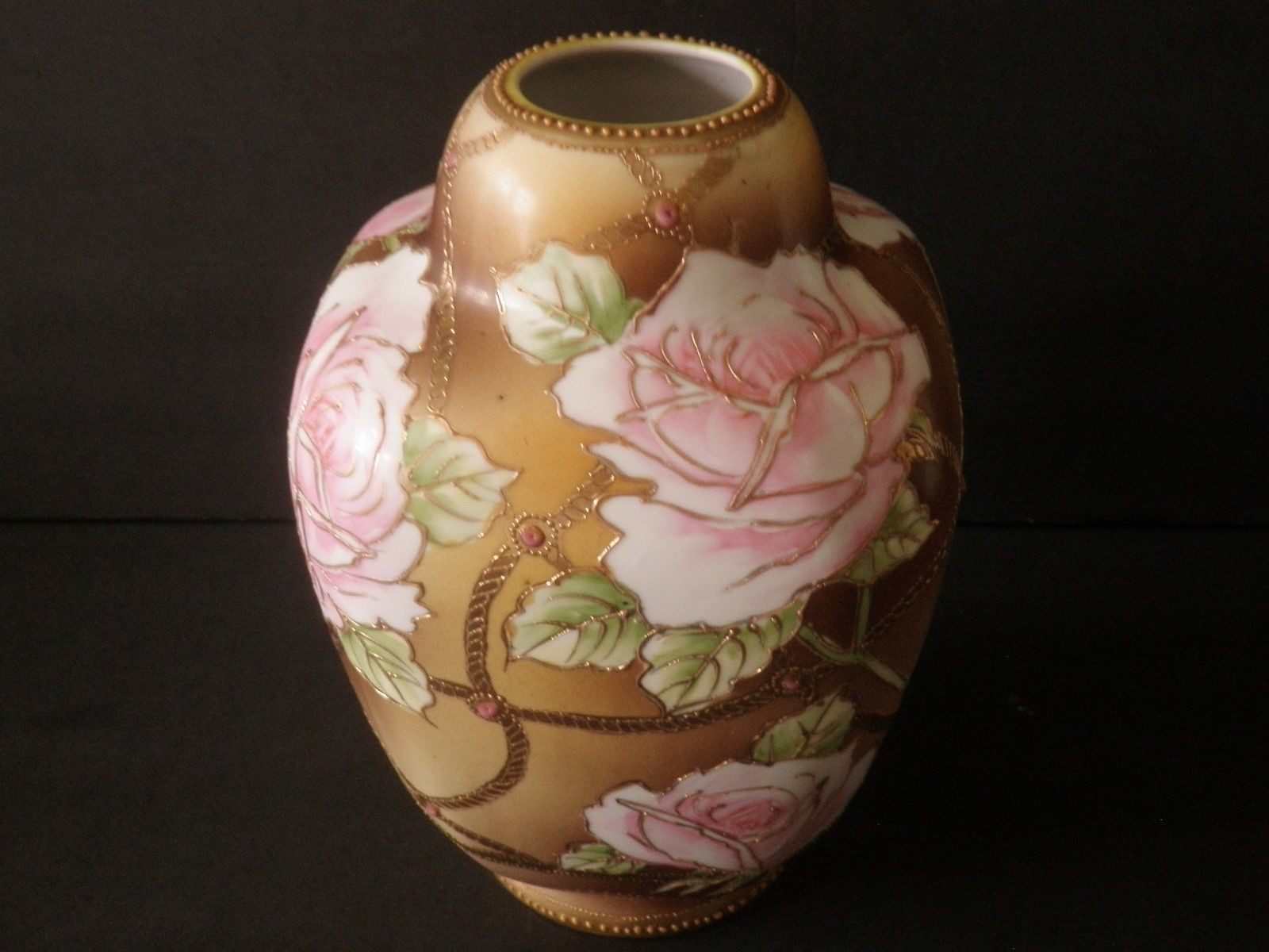 nippon vase marks of vintage nippon vase roses gold trellis raised gold blue in 1 of 7only 1 available