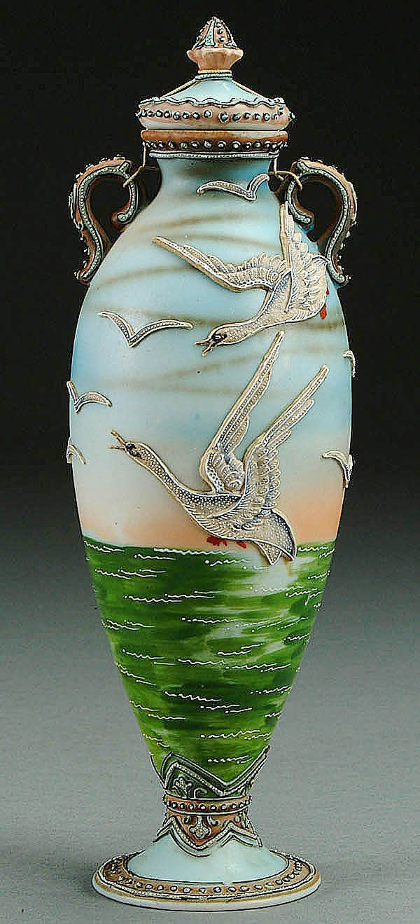 nippon vases value of 125 best vazolar images on pinterest flower vases vintage vases pertaining to a nippon moriage snow geese decorated porcelain covered urn circa 1915 with moriage decorated geese flying