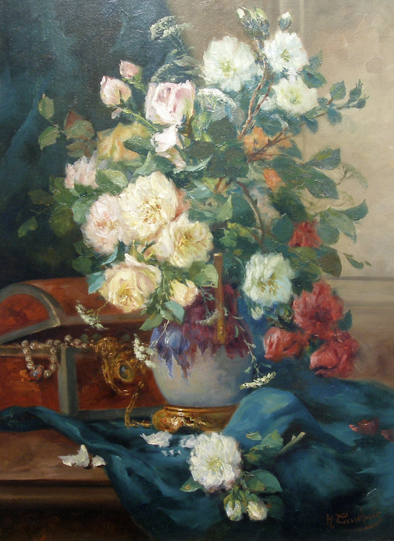 oil paintings of flowers in a vase of eugene henri cauchois roses in a lustre vase julian simon fine art throughout eugene henri cauchois roses in a lustre vase