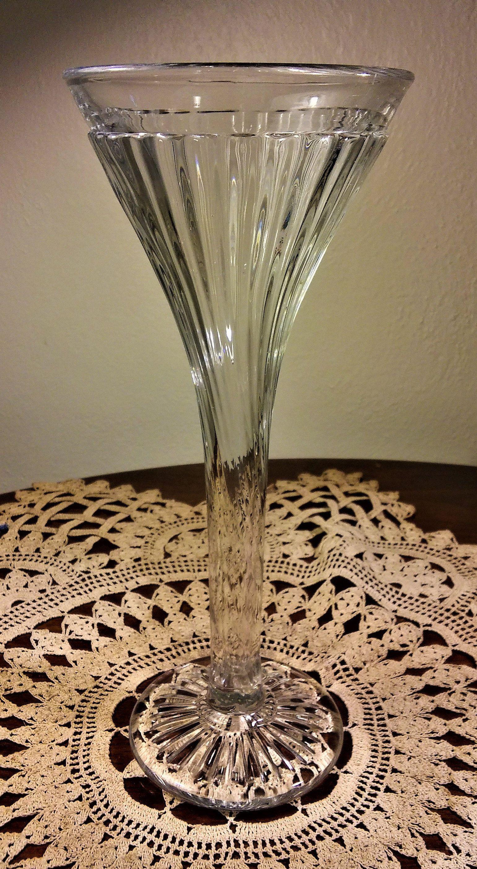 Old Waterford Crystal Vase Of Glass Trumpet Vase Photos Vintage Clear Pressed Glass Trumpet Vase Throughout Glass Trumpet Vase Photos Vintage Clear Pressed Glass Trumpet Vase