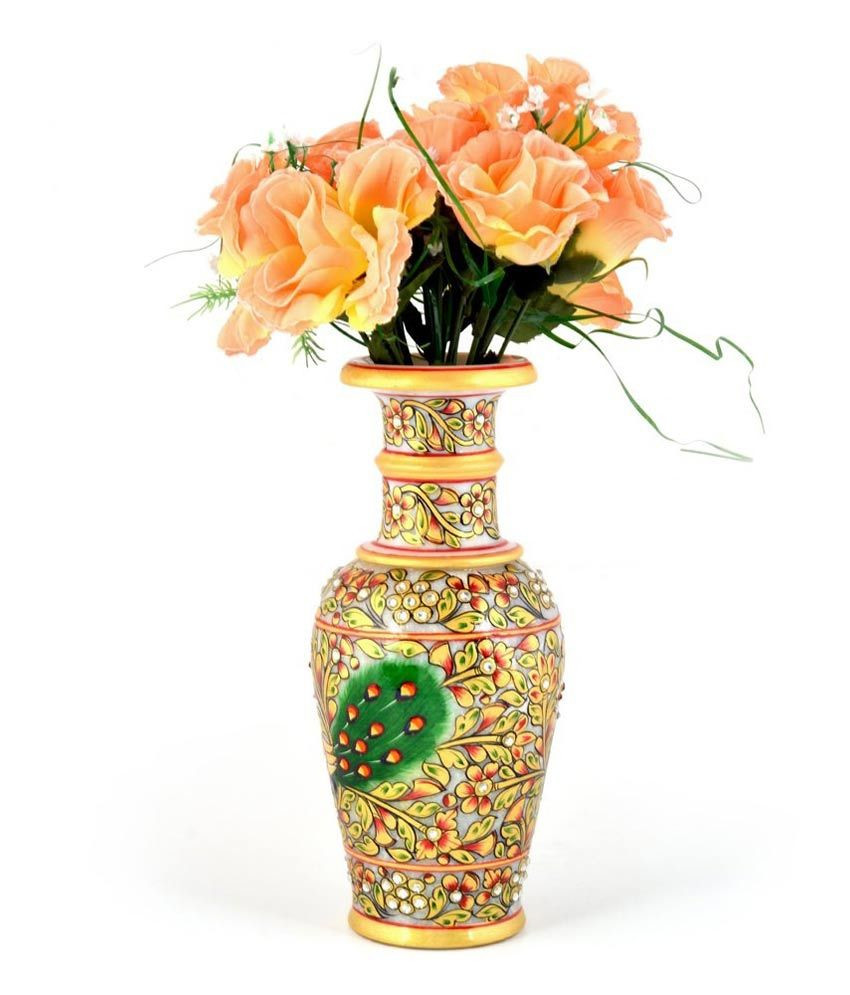 Orange Artificial Flowers In Vase Of Jaipur Handicraft Jaipuri Golden Minakari Peacock Design Flower Vase with Jaipur Handicraft Jaipuri Golden Minakari Peacock Design Flower Vase