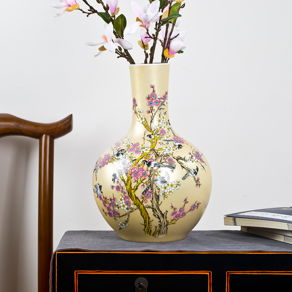 Oriental Wooden Vase Stands Of Aliexpress Com Buy Traditional Chinese Ceramic Vase for Flowers for Jingdezhen Ceramic Big Vase New Chinese Style Golden Magpie Plum Large Vase Living Room Furnishing Articles