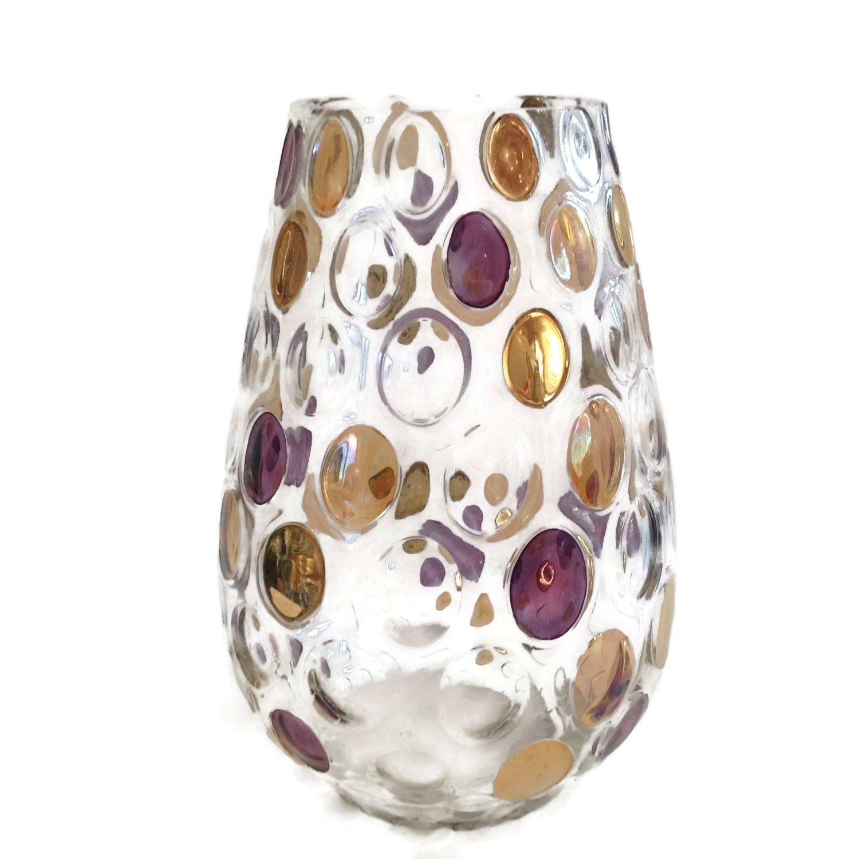 orrefors glass vase of vintage mid century modern purple gold dot vase borske sklo pertaining to dc29fc294c28ezoom