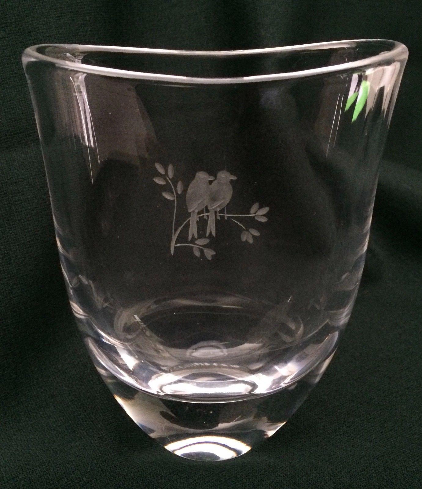 orrefors vase vintage of vintage orrefors small crystal vase with etched love birds signed for 1 of 3 see more