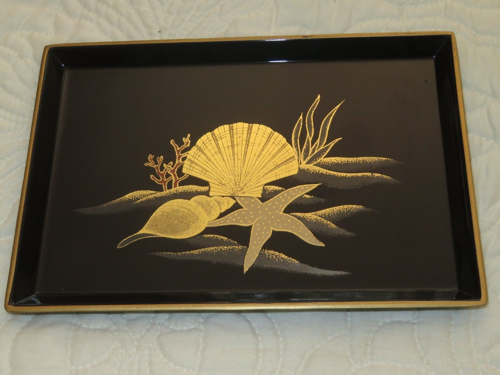 otagiri japan bud vase of vintage otagiri japan lacquerware tray black w gold shells coral regarding vintage otagiri japan lacquerware tray black w gold shells coral starfish 7 2 ebay