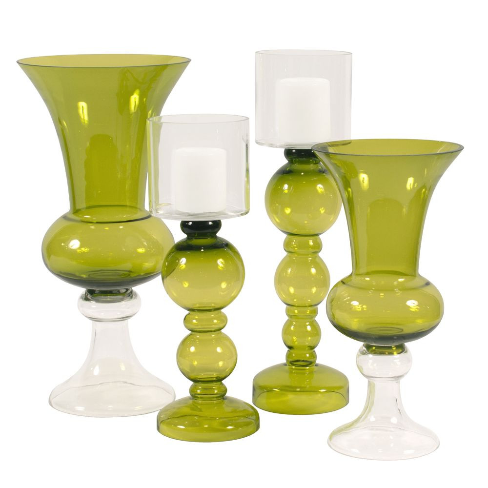 Oversized Glass Vase Of Howard Elliott Green Hand Blown Candleholder with Clear Hurricane within Explore Glass Vase Trumpets and More