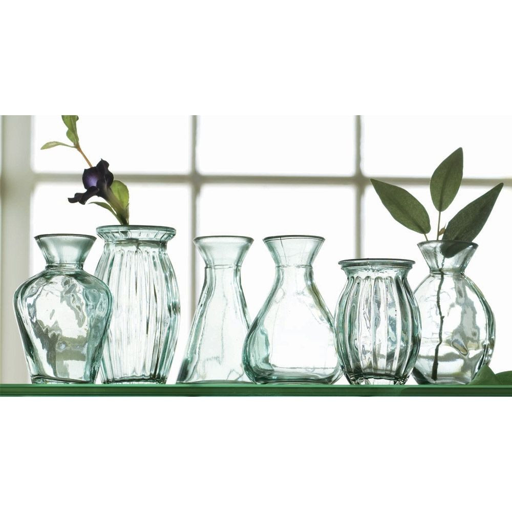 oversized recycled glass vases of recycled green glass vases set of 6 perfect for a windowsill intended for recycled green glass vases set of 6 perfect for a windowsill