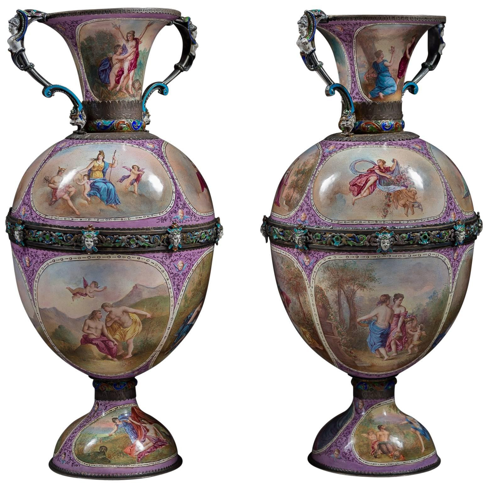 Pair Of Chinese Cloisonne Vases Of Pair Of Austrian Style Brass and Enamel Cornucopia Vases for Sale at Regarding Pair Of Austrian Style Brass and Enamel Cornucopia Vases for Sale at 1stdibs