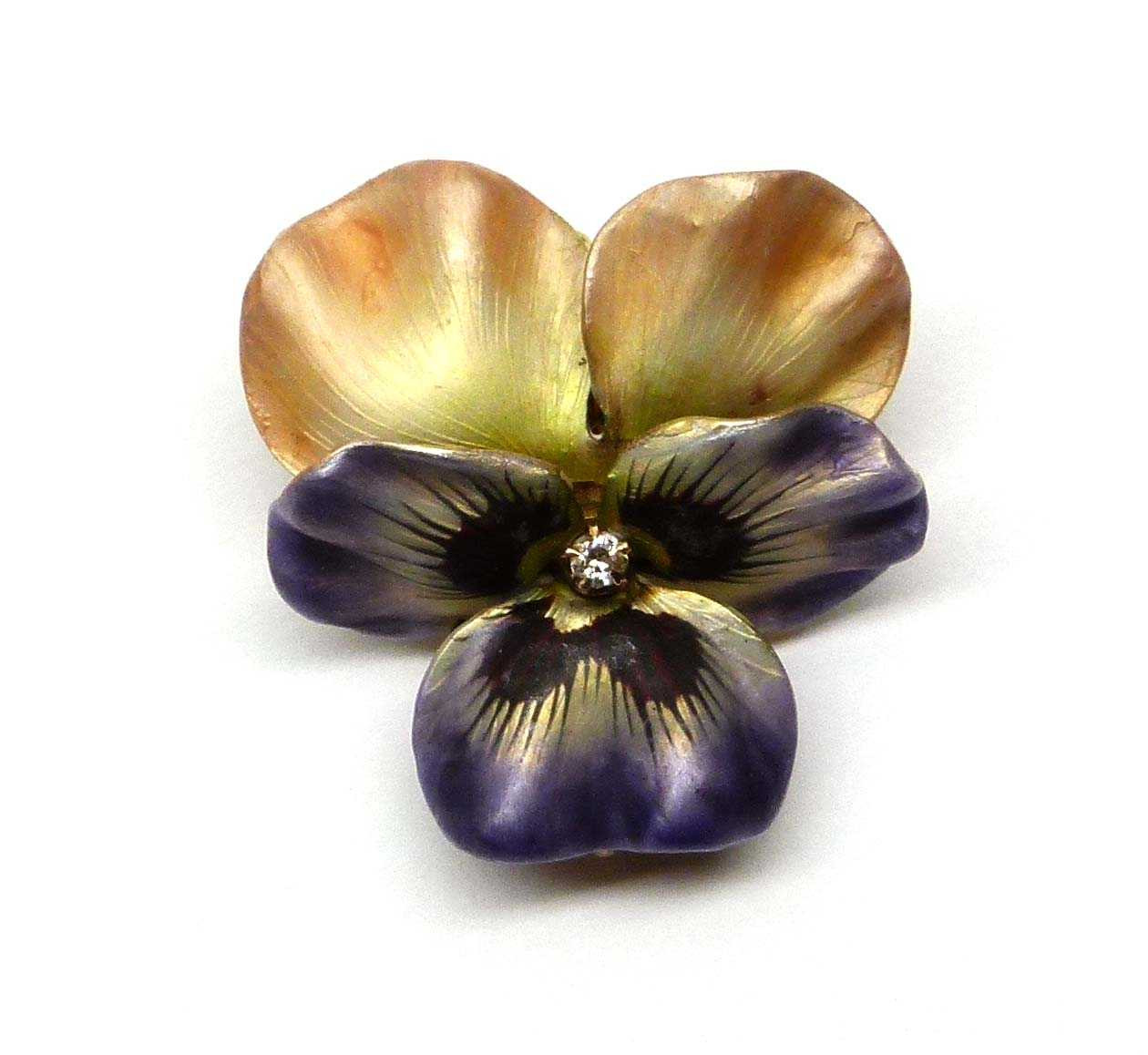 Pansy Flower Ring Vase Of Antique Iridescent Enamel Diamond and Gold Pansy Brooch American C for Antique Iridescent Enamel Diamond and Gold Pansy Brooch American C 1900