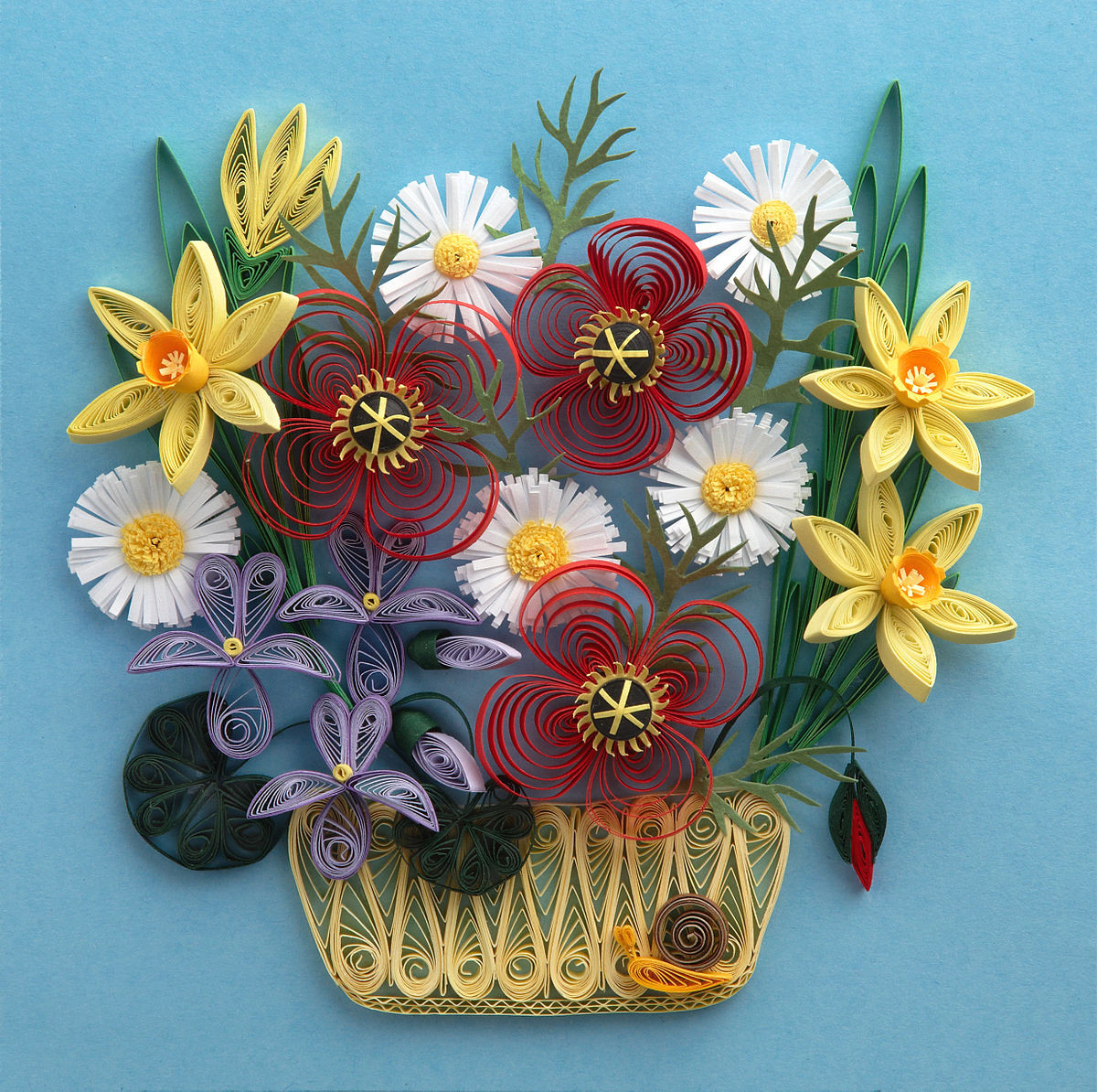 Paper Mache Flower Vase Of Paper Craft Wikipedia for 1200px Quilled Flowers Sample Quilling Picture