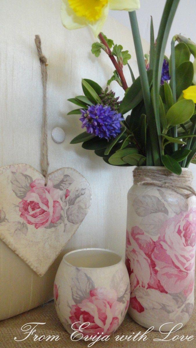 paper vase craft of vintage rose set using napkin decoupage kreativni kutak with vintage rose set using paper napkins decoupage tutorial on the blog