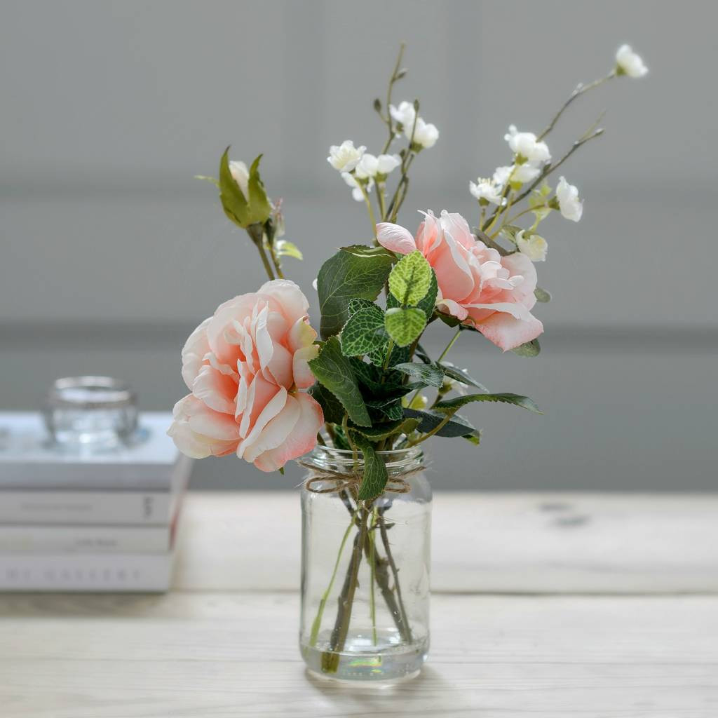 peach glass vase of big vase with artificial flowers sevenstonesinc com intended for faux blossom and peach rose posy with vintage jar vase by the flower