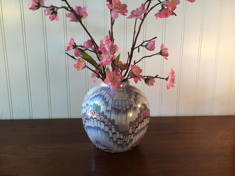 "peacock feathers in vase ideas of vintage toyo ginger jar vase lusterware h f p macau 5 h etsy with regard to dŸ""Žzoom"