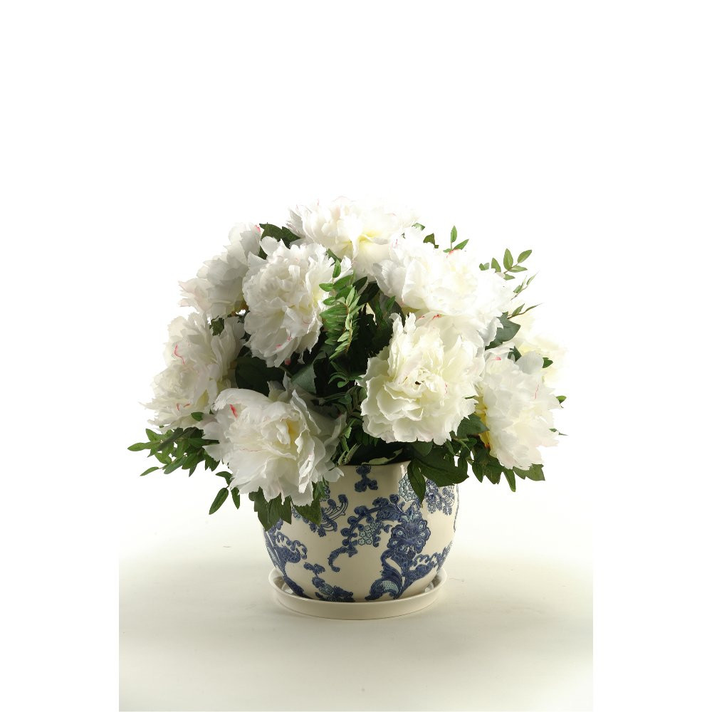 peonies vase arrangement of cream peonies arrangement in a ceramic blue and white planter rc intended for cream peonies arrangement in a ceramic blue and white planter rc willey furniture store