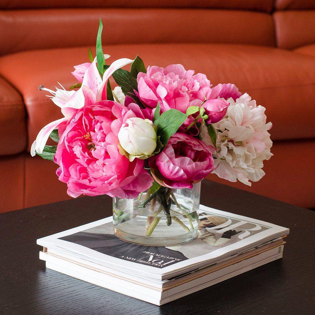 peonies vase arrangement of silk pink peonies casablanca lily fuchsia arrangement casablanca throughout silk pink peonies casablanca lily fuchsia arrangement
