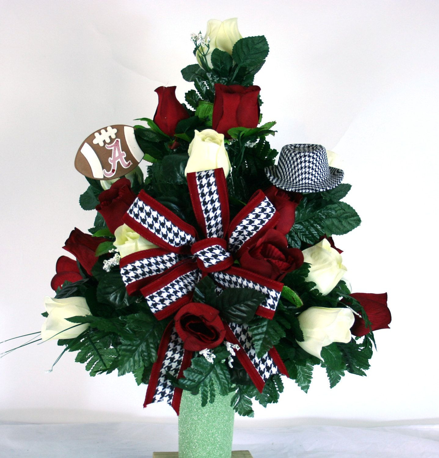 personalised grave vase of stay in the vase cemetery flowers with alabama crimson tide fan vase cemetery flower arrangement by crazyboutdeco on etsy