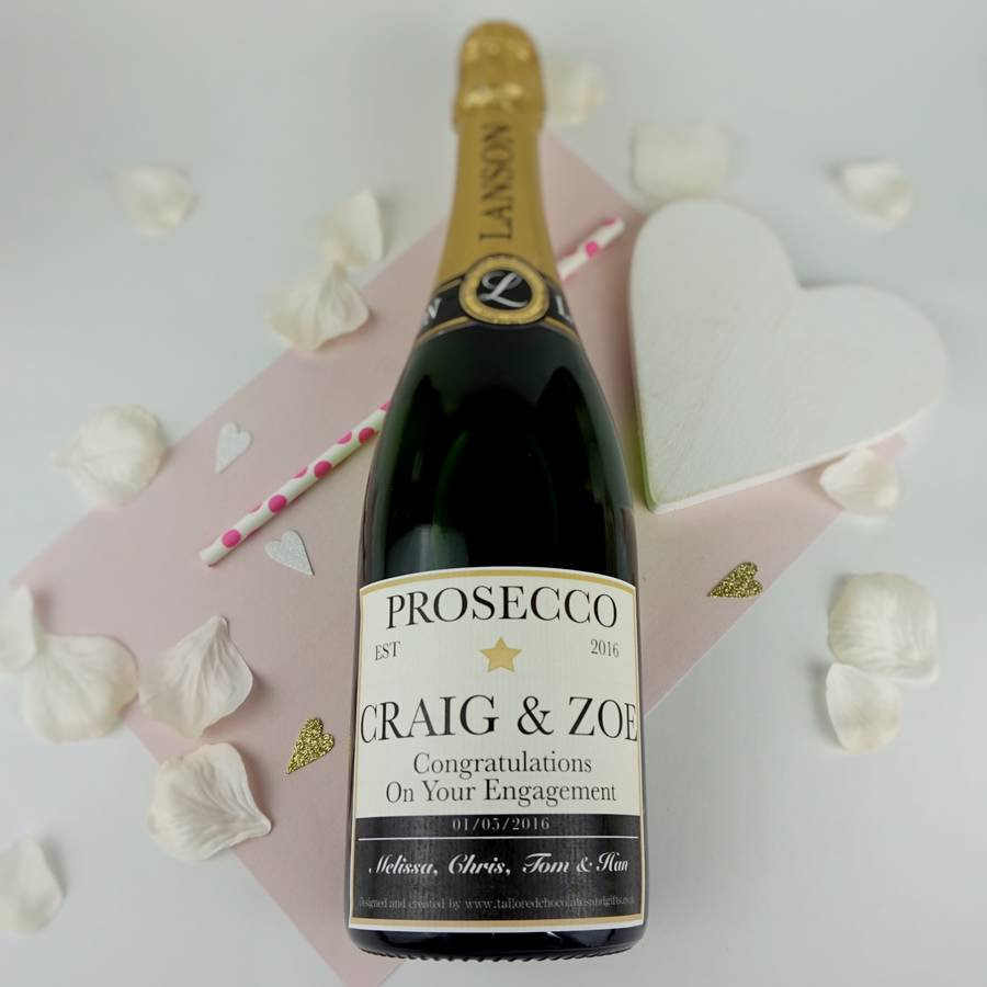 personalized glass photo vase of personalised champagne prosecco or wine label by tailored chocolates with regard to black gold