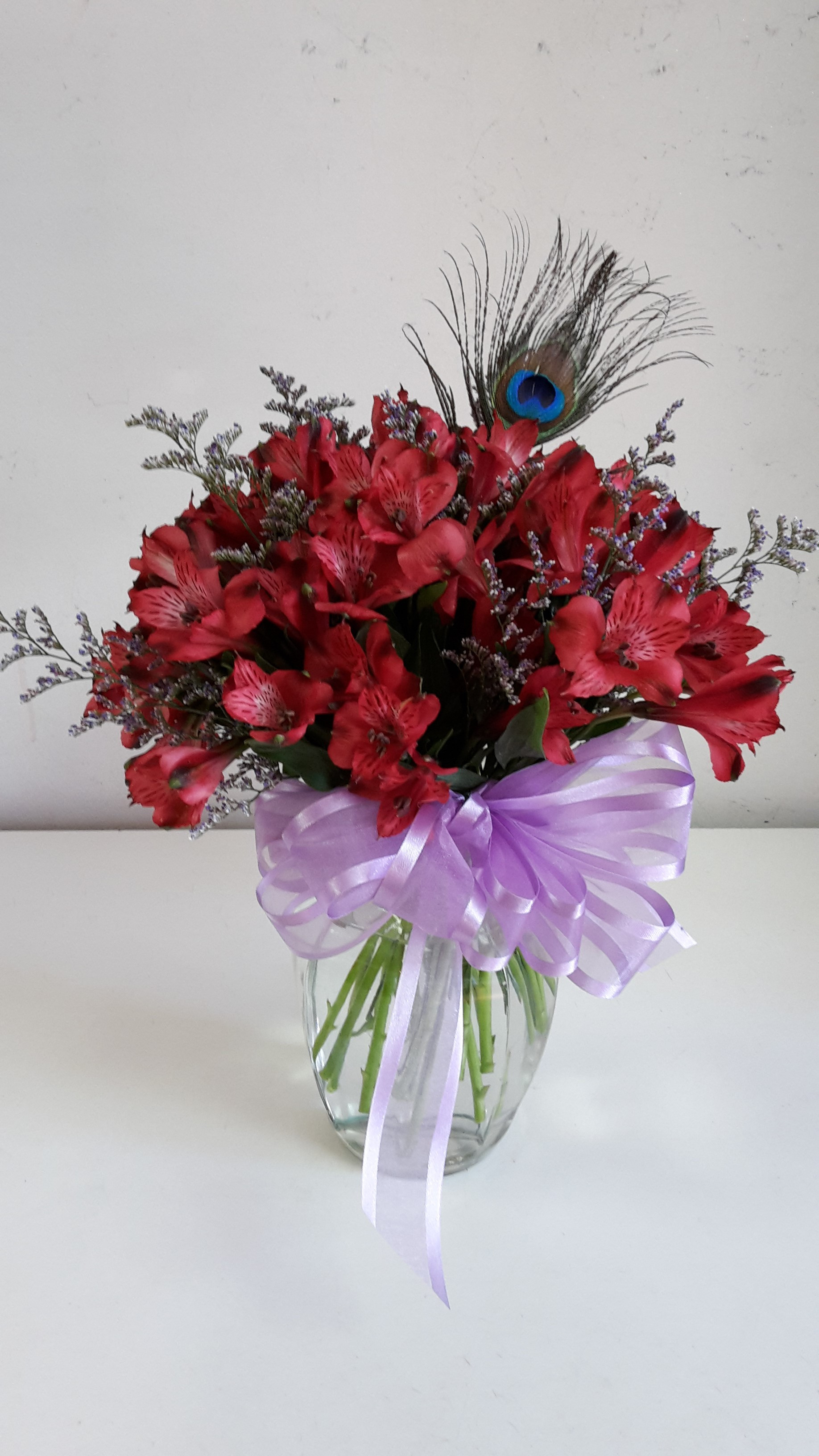 personalized vase flower delivery of peacock alstroemeria in elk city ok broadway flowers inside peacock alstroemeria