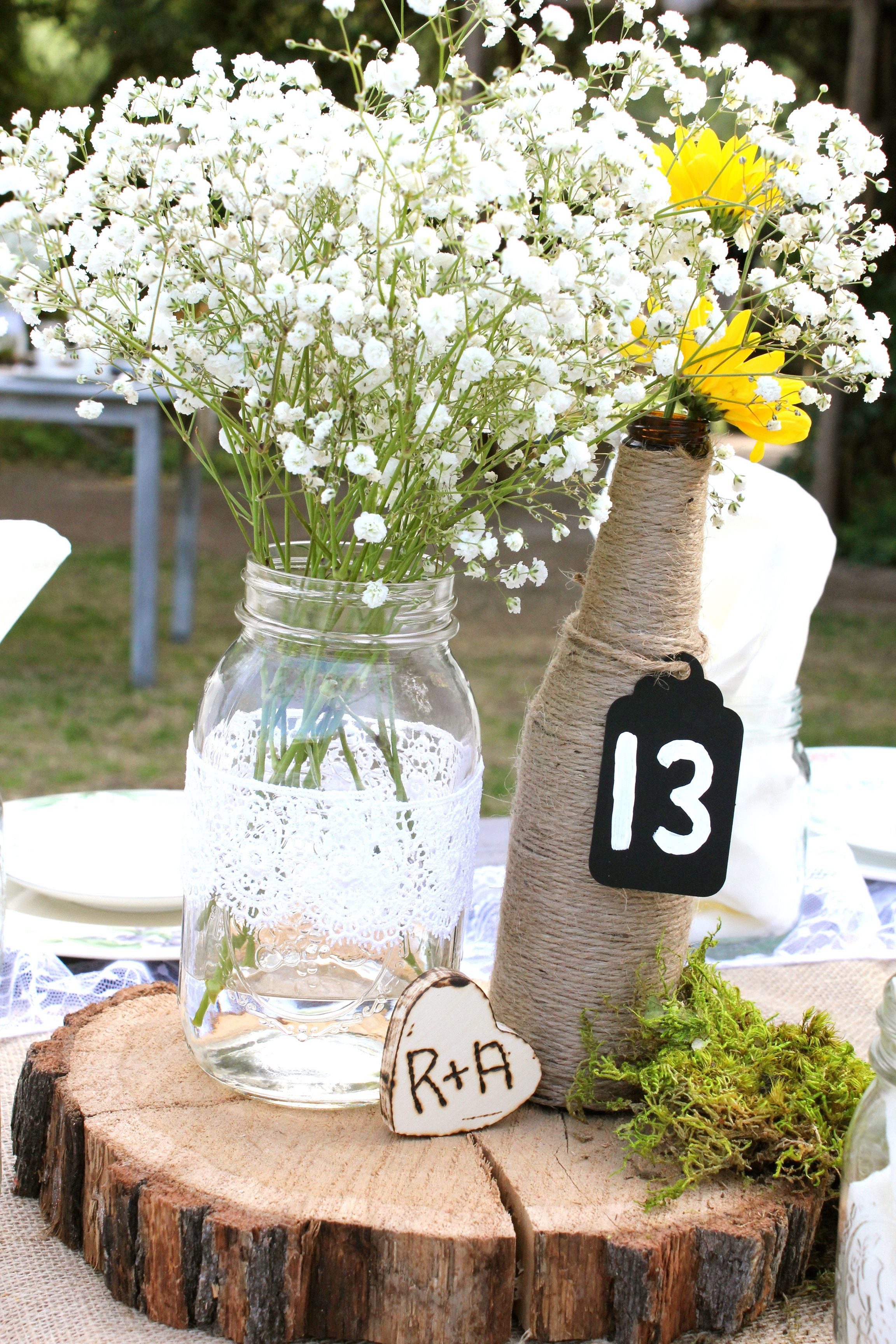 Picture Frame Vase Centerpiece Of Elegant Country Wedding Table Centerpieces Mason Jar and Twine Intended for Elegant Country Wedding Table Centerpieces Mason Jar and Twine Covered Bottle Vases