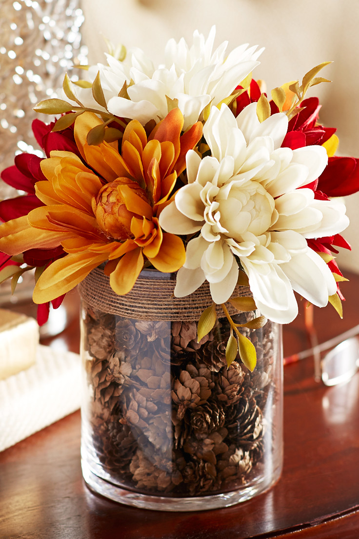pier 1 flower vases of for a tabletop focal point nothing draws attention like our pertaining to for a tabletop focal point nothing draws attention like our arrangement of faux dahlias complete with a glass vase filled with pinecones