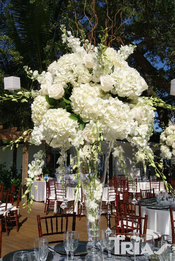 pilsner vase centerpiece ideas of 11 best projects to try images on pinterest floral arrangements in tall centerpiece with white hydrangeas roses and orchids www triasflowers com