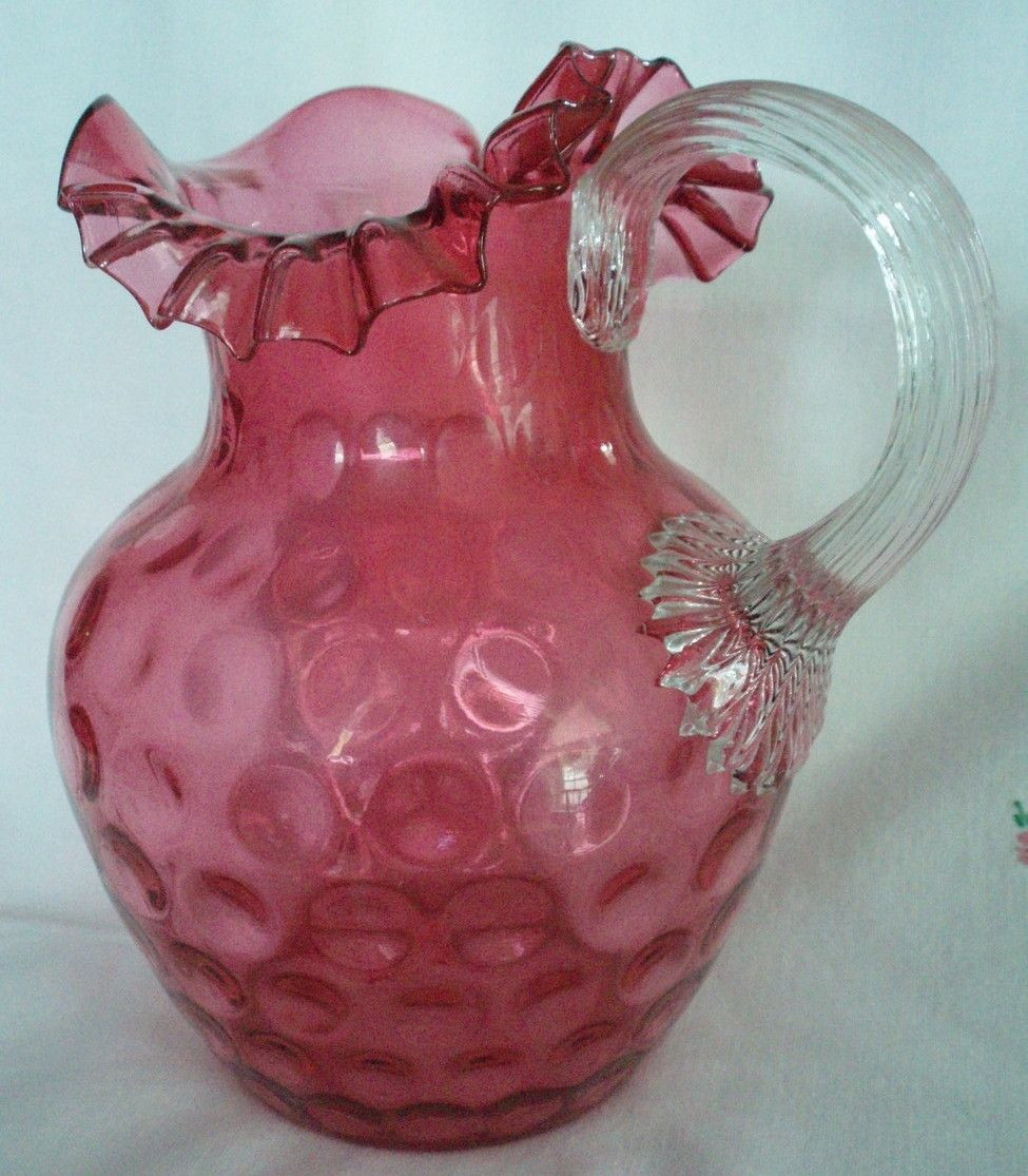 pink glass vase antique of cranberry glass northwood water pitcher antique thumbprint offerred with cranberry glass northwood water pitcher antique thumbprint offerred by barntiques859 on bonanza com