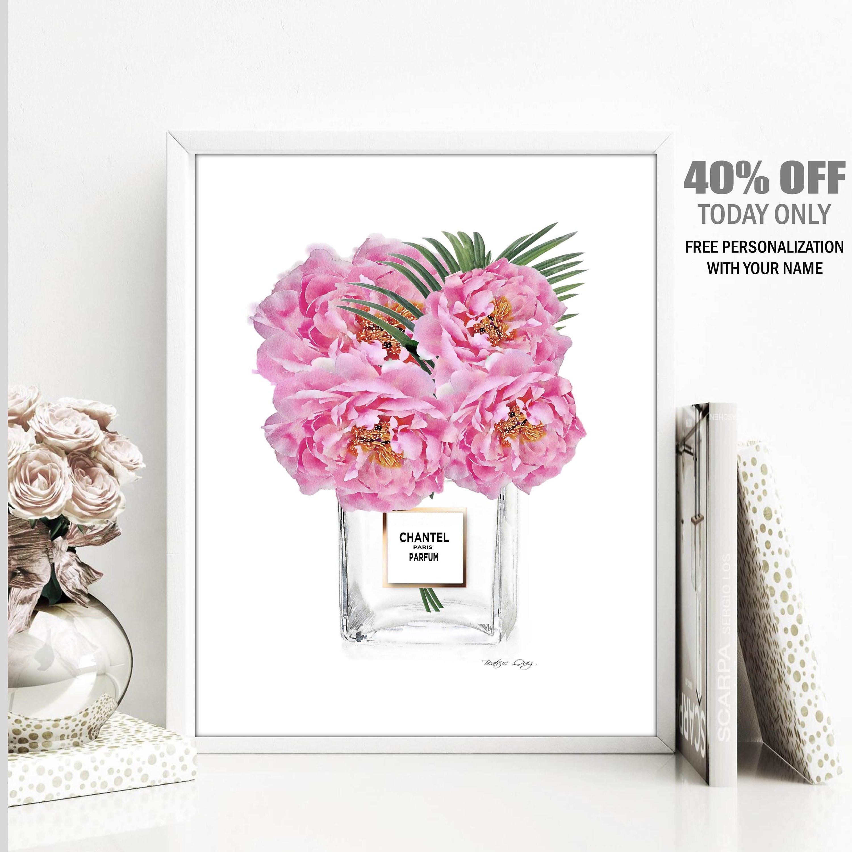 """pink peonies in glass vase of peony print peonies perfume vase wall art vanity art print etsy within dŸ""""Žzoom"""