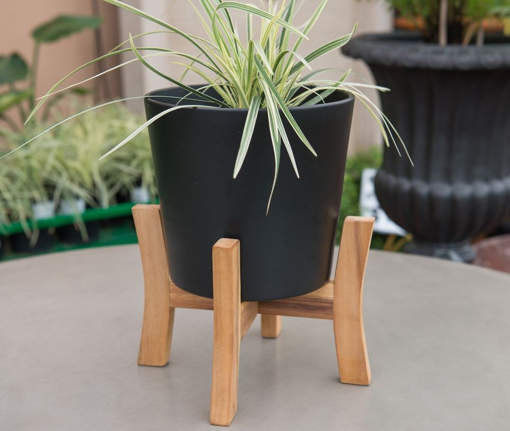 planter vase with stand of garden patio planter jayda mid century wooden plant stand ceramic with regard to garden patio planter jayda mid century wooden plant stand ceramic pot black ebay