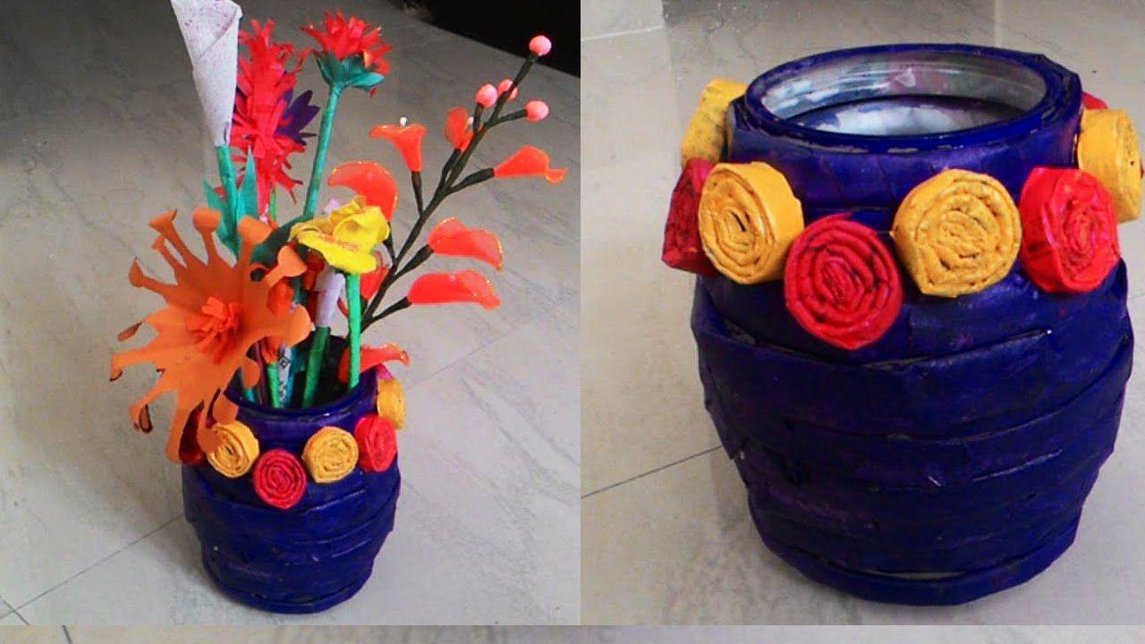 plastic bag flower vases of how to make newspaper flower vase newspaper crafts papel de for how to make newspaper flower vase newspaper crafts