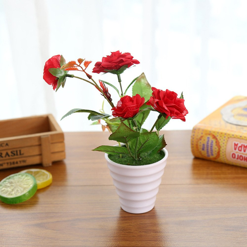 plastic centerpiece vases of mini artificial rose silk flower fake leaves plastic flower pots with regard to mini artificial rose silk flower fake leaves plastic flower pots vase moss grass filling decoration potted plants 4color choose in artificial dried