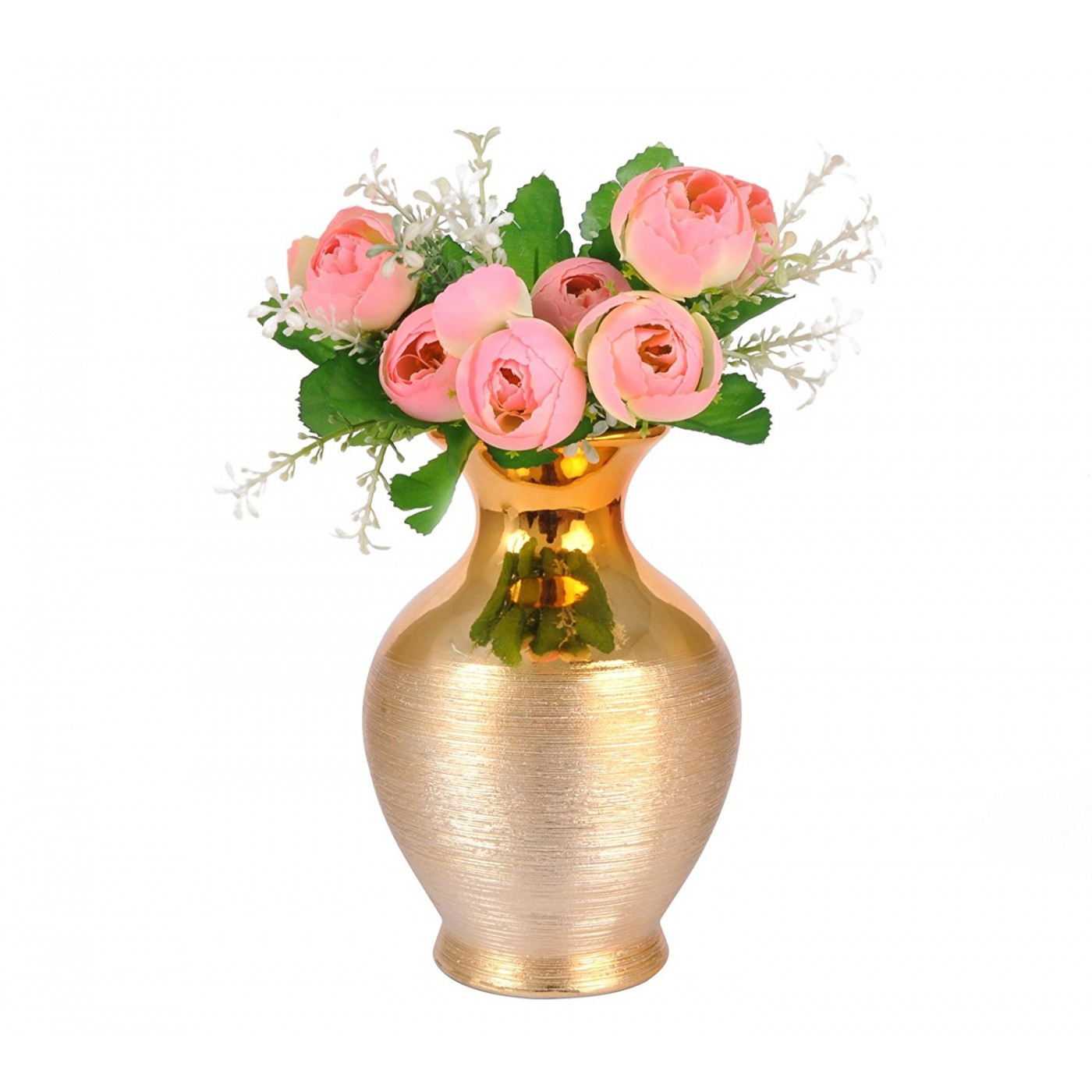 plastic pedestal vase of gold vase fake flowers flowers healthy with artificial flower with vase for living room