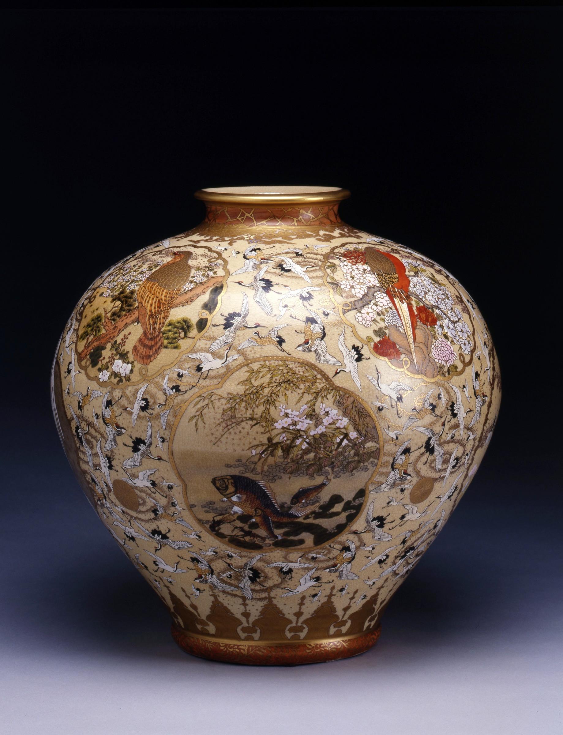 plum vases and bowls of satsuma a set of three satsuma pieces japan date circa 1880 1910 with a set of three satsuma pieces