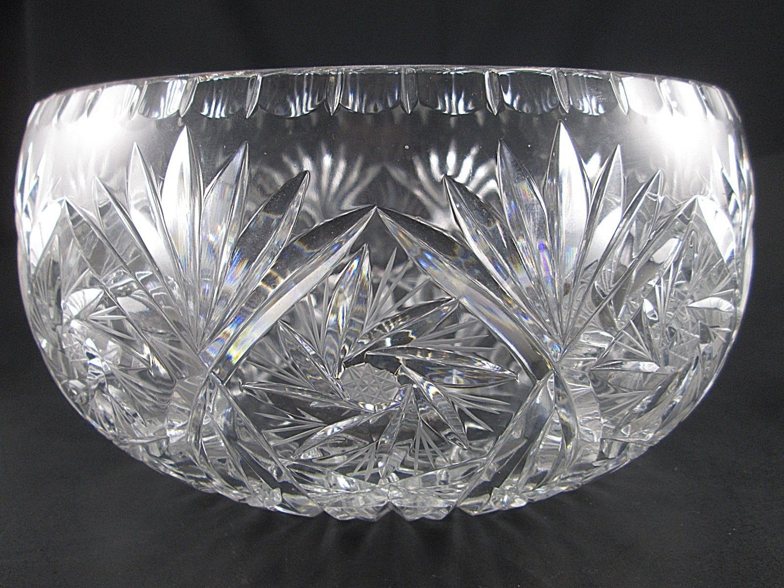 polonia lead crystal vase of large polonia poland lead crystal fanpinwheel star serving bowl with regard to 1 of 4only 1 available